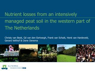 Nutrient losses from an intensively managed peat soil in the western part of The Netherlands