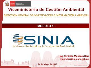 Viceministerio  de Gestión Ambiental DIRECCIÓN GENERAL DE I N VESTIGACIÓN E INFORMACIÓN AMBIENTAL
