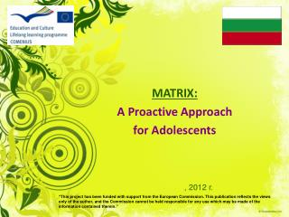 MATRIX: A Proactive Approach  for Adolescents