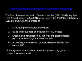 Small Business Innovative Research Program