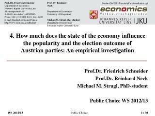 Prof.Dr. Friedrich Schneider Prof.Dr. Reinhard Neck Michael M. Strugl, PhD-student