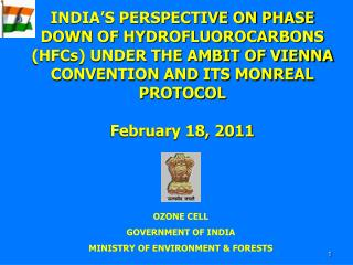OZONE CELL GOVERNMENT OF INDIA  MINISTRY OF ENVIRONMENT & FORESTS