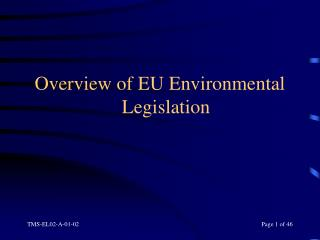Overview of EU Environmental Legislation