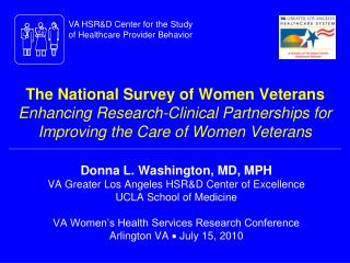 The National Survey of Women Veterans  Enhancing Research-Clinical Partnerships for Improving the Care of Women Veterans