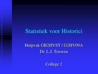 Statistiek voor Historici
