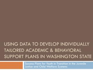 Success Plans for Youth in Transition in the Juvenile Justice and Child Welfare Systems