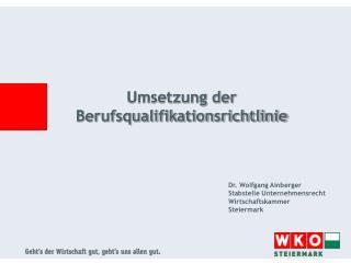 Umsetzung der Berufsqualifikationsrichtlinie
