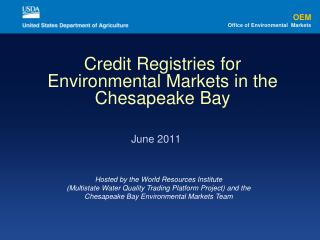 Credit Registries for Environmental Markets in the Chesapeake Bay