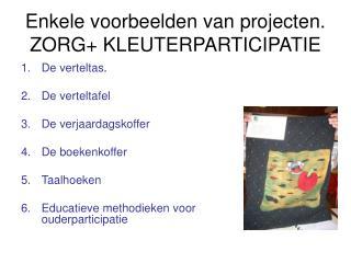 Enkele voorbeelden van projecten. ZORG+ KLEUTERPARTICIPATIE