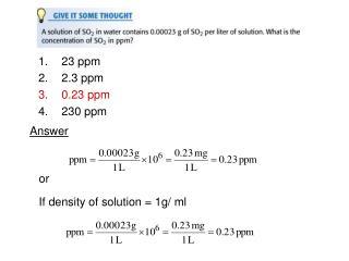 23 ppm 2.3 ppm 0.23 ppm 230 ppm