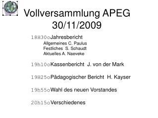 Vollversammlung APEG 30/11/2009