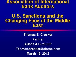 Thomas E. Crocker Partner Alston & Bird LLP Thomas.crocker@alston March 15, 2012