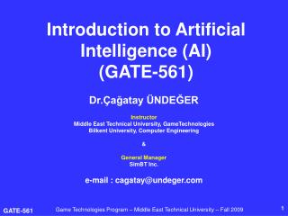 Introduction to Artificial Intelligence (AI)  (GATE-561)