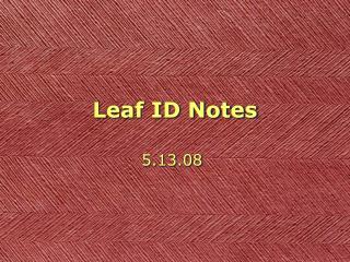 Leaf ID Notes