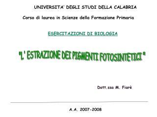 UNIVERSITA  DEGLI STUDI DELLA CALABRIA