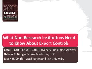 What Non-Research Institutions Need to Know About Export Controls