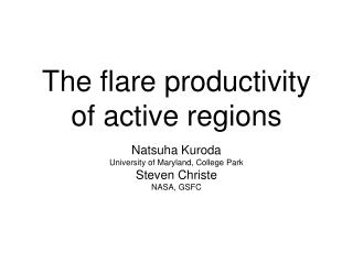 The flare productivity of active regions