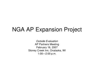 NGA AP Expansion Project