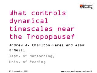 What controls dynamical timescales near the Tropopause?