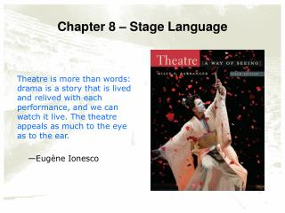 Chapter 8 – Stage Language