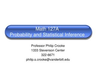 Math 127A Probability and Statistical Inference