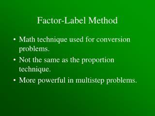 Factor-Label Method