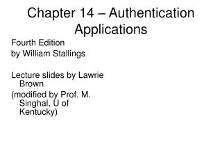 Chapter 14 – Authentication Applications