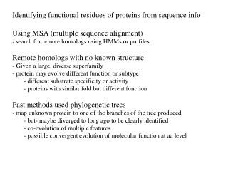 Identifying functional residues of proteins from sequence info