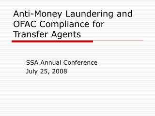 Anti-Money Laundering and OFAC Compliance for Transfer Agents