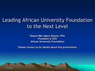 The African University Foundation