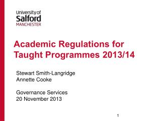 Academic Regulations for Taught Programmes 2013/14