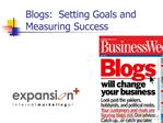 Blogs:  Setting Goals and Measuring Success