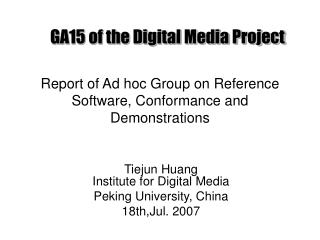 Report  of Ad hoc Group on Reference Software, Conformance and Demonstrations