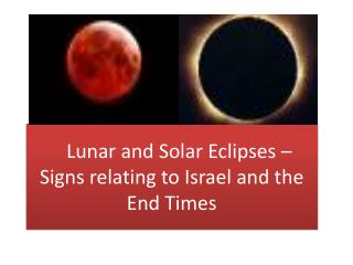 Lunar and Solar Eclipses –  Signs relating to Israel and the End Times