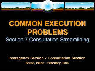 COMMON EXECUTION PROBLEMS Section 7 Consultation Streamlining