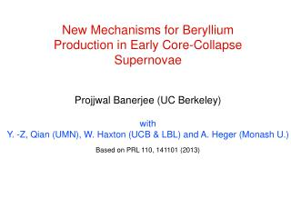 New Mechanisms for Beryllium Production in Early Core-Collapse Supernovae