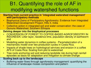 B1. Quantifying the role of AF in modifying watershed functions