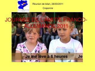 JOURNEE DE L'AMITIE FRANCO-ALLEMANDE 2011