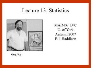 Lecture 13: Statistics