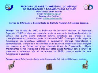 PROPOSTA DE MANEJO AMBIENTAL DO SERVIÇO DE INFORMAÇÃO E DOCUMENTAÇÃO DO INPE