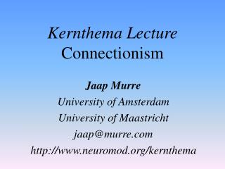 Kernthema Lecture Connectionism