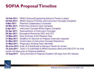SOFIA  Proposal Timeline