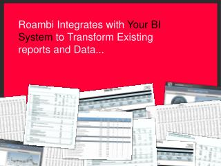 Roa mbi Integrates with  Your BI System  to Transform Existing reports and Data...