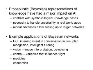 Probabilistic (Bayesian) representations of knowledge have had a major impact on AI