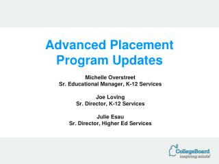 Advanced Placement Program Updates