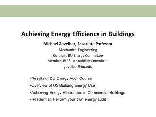 Achieving Energy Efficiency in Buildings