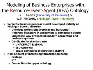 Semantic business process model developed initially at Michigan State University