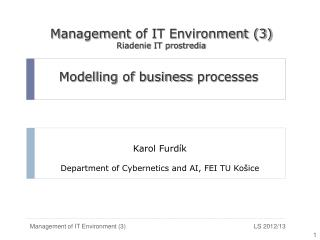 Modelling of business processes