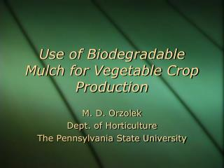 Use of Biodegradable Mulch for Vegetable Crop Production