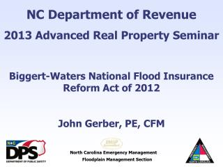 NC Department of Revenue 2013 Advanced Real Property Seminar